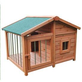 木製犬小屋 扉付き 犬小屋 ペットハウス 木製 犬舎 犬 ペット おうち 小屋 ゆったり(代引不可)【送料無料】