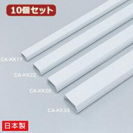 【10個セット】 サンワサプライ ケーブルカバー(角型、ホワイト) CA-KK22X10(代引不可)