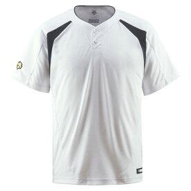 デサント(DESCENTE) ベースボールシャツ(2ボタン) (野球) DB205 Sホワイト×ブラック XO