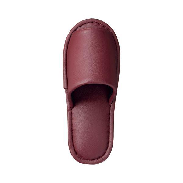 (まとめ) TANOSEE 最高級レザー調スリッパ 外縫い 大人用 ワイン 1足 【×5セット】
