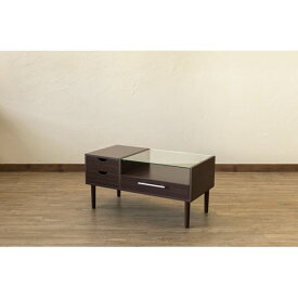 テーブル型 ドレッサー/化粧台 【ダークブラウン】 幅80cm 木製 ガラス天板 引き出し3杯 1面鏡 脚付き 『Altona』 〔リビング〕【代引不可】