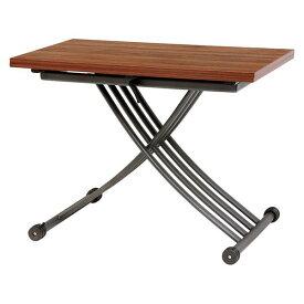 【送料無料】エクステンション 昇降式テーブル/センターテーブル 【ブラウン 約幅114/100cm】 高さ調節可 天板サイズ調整可 キャスター付【代引不可】
