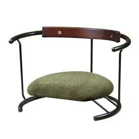 あぐら椅子/正座椅子 【スウィング背もたれ付き モスグリーン×ブラック】 幅60cm 耐荷重80kg 日本製 スチール 【代引不可】