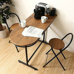カウンターテーブル&チェアー 3点セット W1100×D470×H865mm MDF PVC スチール おしゃれ(代引不可)【送料無料】