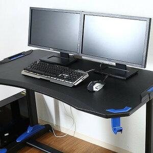 ゲーミングデスク GAMING DESK XeNO(ゼノ) イージー01 W1200×D650×H730mm PVCシート MDF 鉄 おしゃれ ブルー(代引不可)【送料無料】