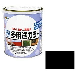 アサヒペン 水性多用途カラー 1.6Lつや消し黒(代引不可)