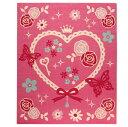 デスクカーペット 女の子 エハート柄 『キャリー ツー』 ピンク 110×133cm【あす楽対応】