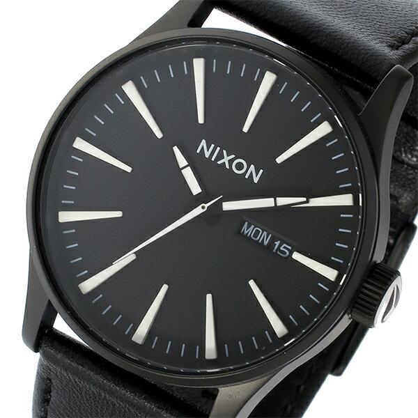 ニクソン NIXON セントリーレザー SENTRY LEATHER クオーツ メンズ 腕時計 時計 A105-005 ブラック【楽ギフ_包装】
