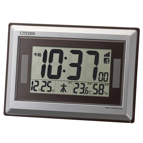 リズム RHYTHM シチズン 電波掛け置き時計 ソーラー アシスト 8RZ182-019 シルバー