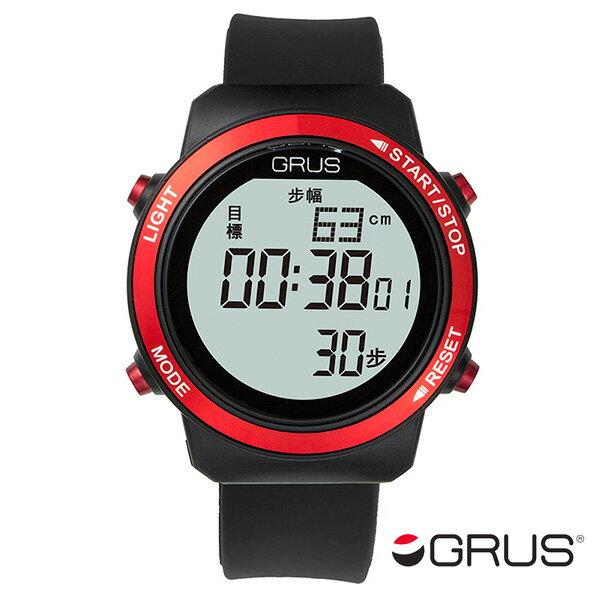グルス GRUS 歩幅計測機能付 ウォーキングウォッチ GRS001-01 ブラック/レッド【楽ギフ_包装】【S1】