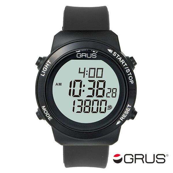 グルス GRUS 歩幅計測機能付 ウォーキングウォッチ GRS001-02 ブラック【楽ギフ_包装】【S1】