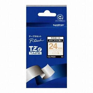 ブラザー工業 TZeテープ ピータッチ専用おしゃれテープ プレミアムタイプ(プレミアムホワイトテープ/金字)24mm TZE-PR254(代引不可)