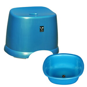 アンティー 風呂椅子・湯桶セット ブルー(代引き不可)