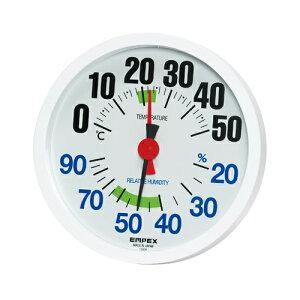 EMPEX エンペックス 温湿度計 LUCIDO ルシード 大きな文字で見やすい温湿度計 壁掛け用 TM-2671 ホワイト