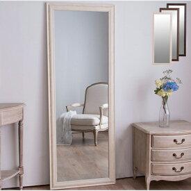 鏡 ミラー 全身 姿見 アンティーク調大型ミラーW60 ホワイト ブラウン ライトブラウン 幅60ビッグミラー 全身鏡 壁掛け(代引不可)【送料無料】
