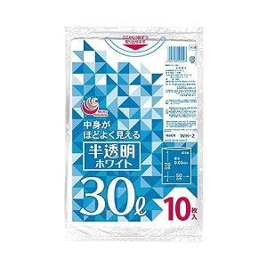 半透明ホワイトゴミ袋 30L 10枚入