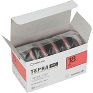 (業務用5セット) キングジム テプラ PROテープ/ラベルライター用テープ 【幅:18mm】 5個入り カラーラベル(赤) SC18R-5P 【×5セット】