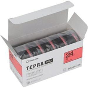 (業務用5セット) キングジム テプラ PROテープ/ラベルライター用テープ 【幅:24mm】 5個入り カラーラベル(赤) SC24R-5P 【×5セット】