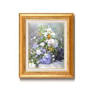 【世界の名画】名画額縁 複製画 絵画額 ■ ルノワール名画額F6金「花瓶の花」 ひも付き