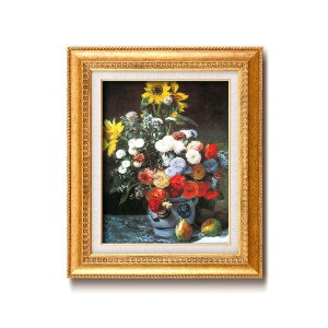 【世界の名画】名画額縁 複製画 絵画額 ■ ルノワール名画額F6金「花束」 ひも付き