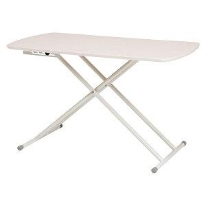 センターテーブル/昇降式テーブル 【ホワイトウォッシュ】 約幅100cm 高さ5段階調節 スチール 〔リビング〕【代引不可】