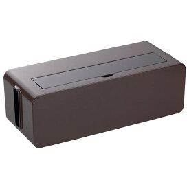 コンセント収納ボックス/ケーブルボックス 【L ブラウン】 幅39×奥行15.6×高さ12.9cm 透明フタ付き【ポイント10倍】