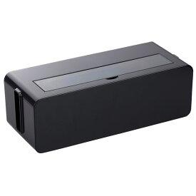コンセント収納ボックス/ケーブルボックス 【L ブラック】 幅39×奥行15.6×高さ12.9cm 透明フタ付き【ポイント10倍】
