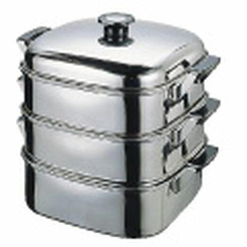 デンサン (T)18-8角型蒸器 24cm 3段 AMS68243【S1】