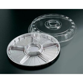 福助工業 サークルトレー透明蓋付(20セット入) FP-3シルバー(6仕切) GSC0301