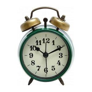 置時計 ベルアラーム W83×D40×H118mm スチール ウォッチ おしゃれ グリーン(代引不可)