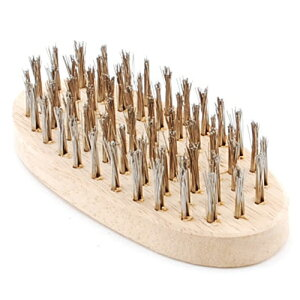 大工道具・砥石・ペーパーのワイヤーブラシ木柄NO.7。サビはがし・ペンキはがし・水廻り作業に使えます。ステンレス線はサビにくく、水廻りの作業に最適です。