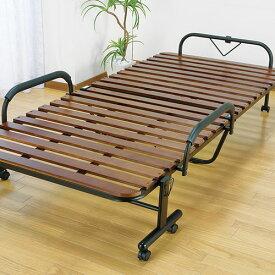 ベッド 折りたたみベッド すのこベッド 桐製 木製 すのこ 折りたたみ キャスター付き シングル(代引不可)【送料無料】