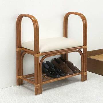玄関ベンチ 天然籐玄関ベンチ 天然籐 籐 靴収納 立ち上がり ラクラク(代引不可)【送料無料】【smtb-f】