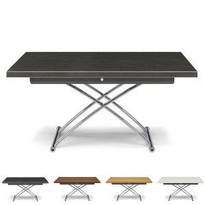 昇降テーブル センターテーブル テーブル 幅130 奥行80 高さ39~73.5 完成品 白杢目黒杢目ハイグロスシート UV塗装 プラント 130(代引不可)【送料無料】