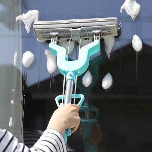 セーブ・インダストリー 伸縮式 スーパー V モップ 掃除 モップ掛け 窓掃除 窓拭き 部屋 水ぶき(代引不可)