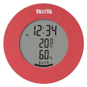 タニタ デジタル 温湿度計 ピンク 現在時刻 温度 湿度 確認 単4乾電池 1本 付属 幅7.5cm 奥行4.6cm 高さ7.3cm【送料無料】