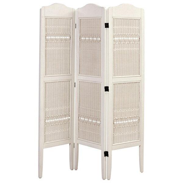 フィオーレ スクリーン 3連 ホワイトウォッシュ 籐家具 インテリア パーテーション 間仕切り 目隠し ついたて 籐 ラタン(代引不可)【送料無料】