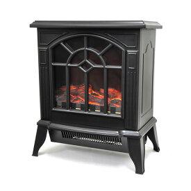 ベルソス VERSOS VS-HF3201 暖炉型ファンヒーター 安全装置付き セラミックヒーター ブラック【送料無料】