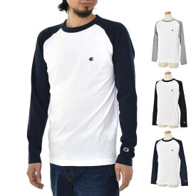 【増税前キャンペーン】【10%OFFセール】チャンピオン Champion Tシャツ メンズ ベーシック ラグラン ロングスリーブTシャツ ロンT 長袖 長T 定番 シンプルブラック 黒 グレー 灰色 ネイビー 紺色 S M L XL C3-P402