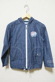 【中古】pom ponette ポンポネット 子供服 女の子 ジャケット ブルー サイズ140cm コットン 春 秋 薄手