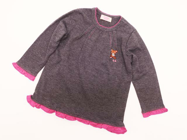 TENKER BELL/ティンカーベル/子供服/キッズ/トップス/Tシャツ/長袖/グレー/クマモチーフ/女の子/サイズ80cm/メール便可【中古】