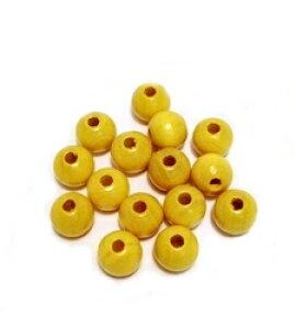 【イエロー】8mm ウッドカラービーズ 15粒入 手作りアクセサリー定番! アクセサリーパーツ/木/ナチュラル