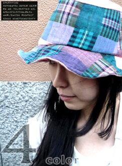 从颜色检查和拼凑而成的帽子 ★ 领线骨科免费休闲帽子棉料是,触感柔软