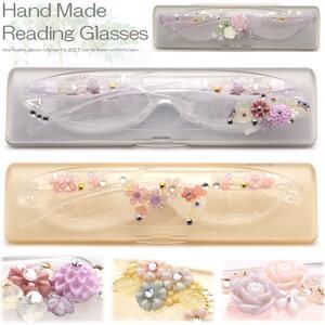 シニアグラス 30代後半からのスマホ老眼鏡 女性 軽量めがね おしゃれ 老眼鏡 1枚1枚日本の工房で手作り スワロフスキー デコレーション メガネケース付 コンパクト おしゃれ 女性 リーディンググラス Reading Glasses 女性人気 老花眼鏡 バラ模様 母の日
