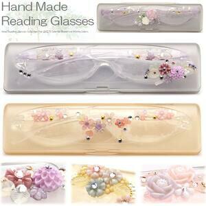 老眼鏡 女性 レディース おしゃれ 日本の工房で手作り シニアグラス 軽量めがね ガラス デコレーション メガネケース付 コンパクト リーディンググラス Reading Glasses 女性人気 非球面レンズ