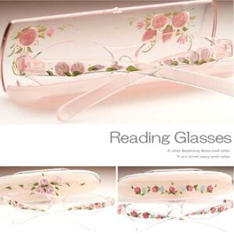 Hand painted reading glass. Painted one by one in Japan quality. Fashionable, compact and light reading glass with hand painted case. Good for gift!☆