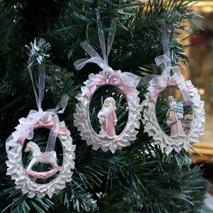 ホワイトヒイラギ リースオーナメント 3個セットクリスマス ディスプレイ シャビー シャビーシック アンティーク オブジェ リース ツリー インテリア ショップ プレゼント ギフト おしゃれ