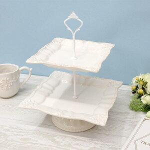 フルール ケーキスタンド 2段アンティーク シャビー シャビーシック マグ コップ ホワイト プレゼント ギフト ティータイム ディスプレイ インテリア ショップ おしゃれ かわいい 皿 白 陶器
