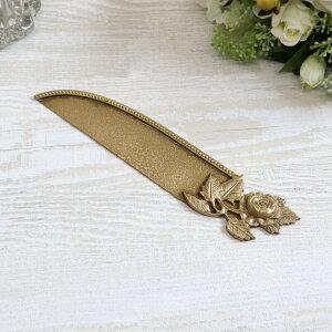 アンティークローズ レターオープナーペーパーナイフ ナイフ アンティーク ブラス ゴールド ローズ バラ ハンドメイド シャビー シャビーシック ギフト プレゼント おしゃれ かわいい 真鍮
