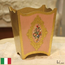 イタリア製 ダストボックス ピンク・ゴールド ハンドペイントRE90-341GP
